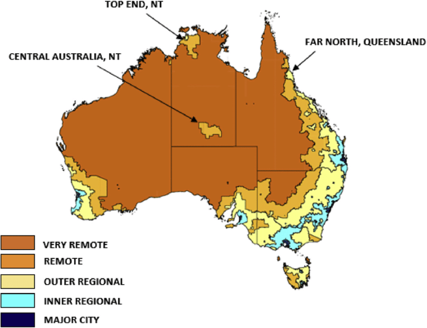 ASGC remoteness areas study sites Australian Government Department of Health 2006